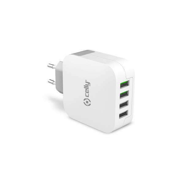 Celly TC4USBTURBO, nabíječka USB, 2x1A + 2x2.4A, bílá