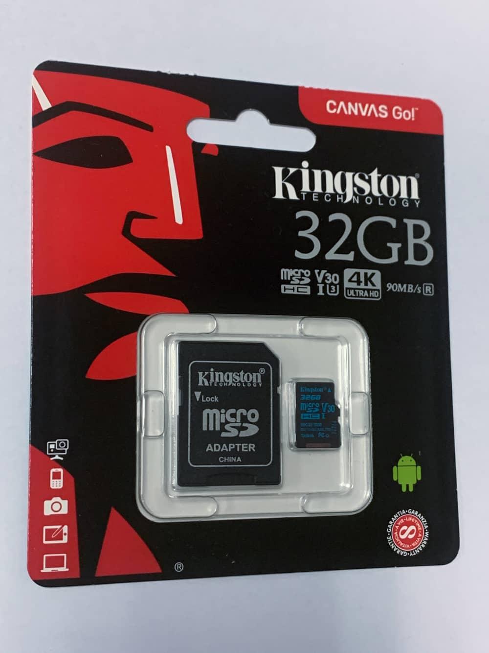 KINGSTON 32GB microSDHC karta CANVAS GO, Class U3 UHS-I V30 (čtení/zápis 90/45MB/s) + adaptér (SDCG2/32GB)