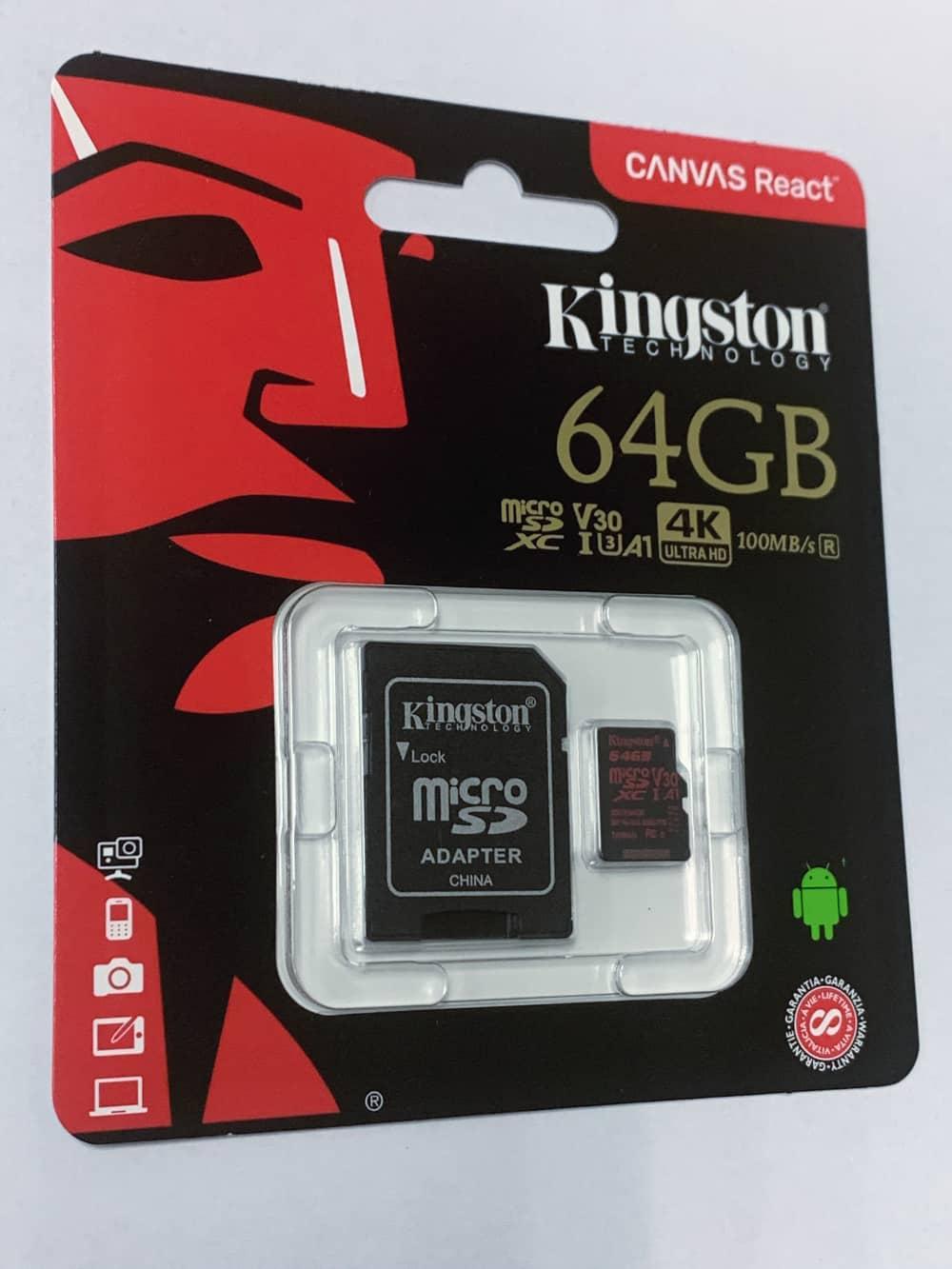 KINGSTON 64GB microSDXC karta CANVAS REACT, UHS-I Class 3 (čtení/zápis 100/70MB/s) + adaptér (SDCR/64GB)