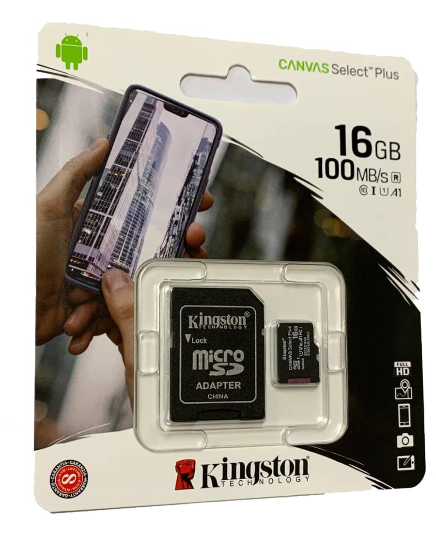 KINGSTON 16GB micro SDHC karta CANVAS SELECT PLUS CL 10 UHS-I + ADAPTER (SDCS2/16GB)