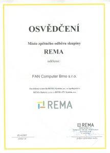REMA - osvědčení o místě zpětného odběru - recyklace a likvidace