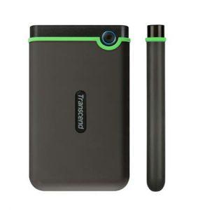 """TRANSCEND 1TB StoreJet 25M3S SLIM, 2.5"""", USB 3.0 (3.1 Gen 1) Externí Anti-Shock disk, tenký profil, šedo / zelený"""