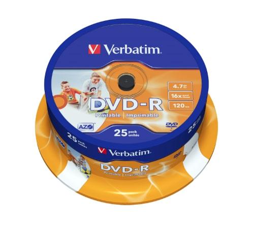 DVD-R Verbatim, 4.7GB, /16x/ PRINTABLE 25 ks CAKE BOX