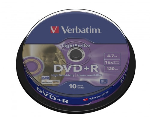 DVD+R Verbatim, 4.7GB, /16x/ LIGHTSCRIBE, 10 cake box