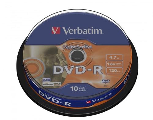 DVD-R Verbatim, 4.7GB, /16x/ LIGHTSCRIBE, 10 ks CAKE BOX
