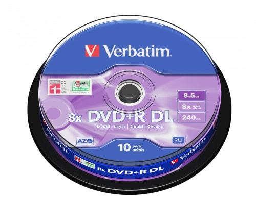 DVD+R Verbatim, 8.5GB DualLayer, /8x/ 10 ks cake box